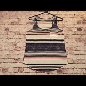 Striped tank top with front pocket